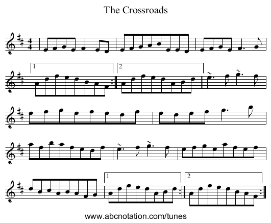 The Crossroads - staff notation