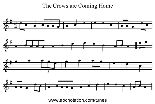 The Crows are Coming Home - staff notation