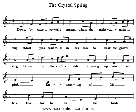The Crystal Spring - staff notation