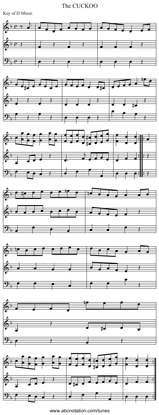 The CUCKOO - staff notation