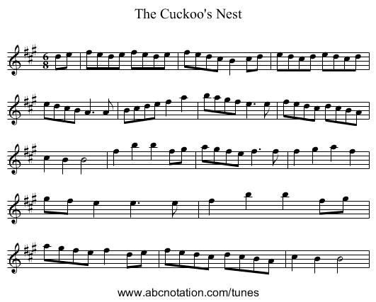 The Cuckoo's Nest - staff notation