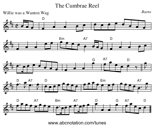 The Cumbrae Reel - staff notation