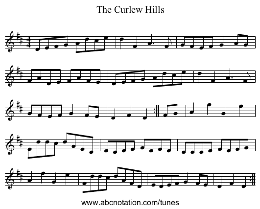The Curlew Hills - staff notation