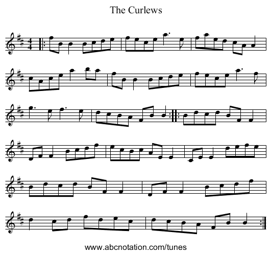 The Curlew - staff notation