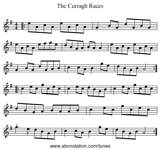 The Curragh Races - staff notation