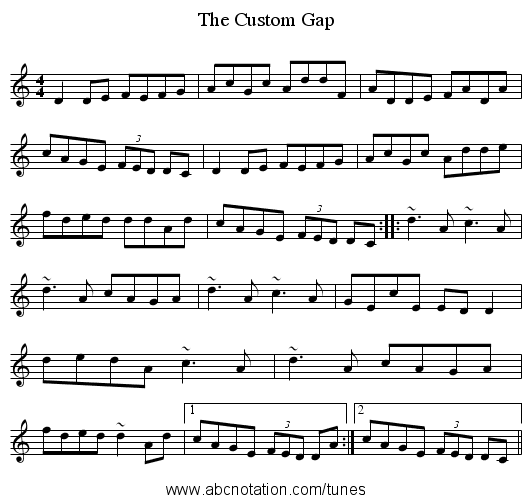 The Custom Gap - staff notation