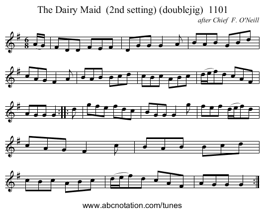 The Dairy Maid  (2nd setting) (doublejig)  1101 - staff notation