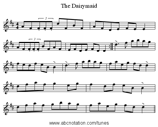 The Dairymaid - staff notation