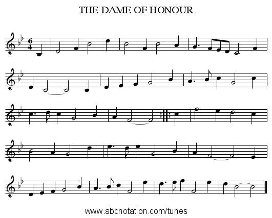 THE DAME OF HONOUR - staff notation