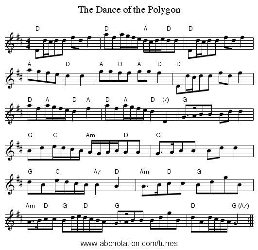 The Dance of the Polygon - staff notation