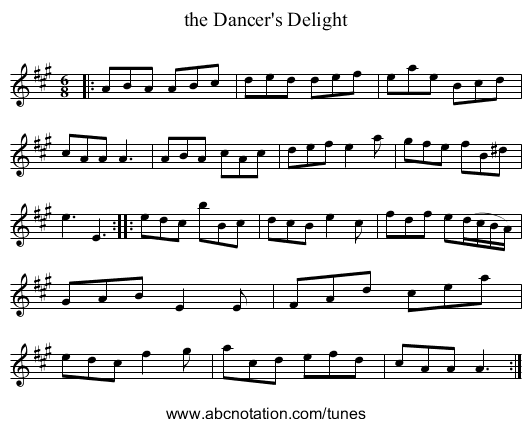 the Dancer's Delight - staff notation