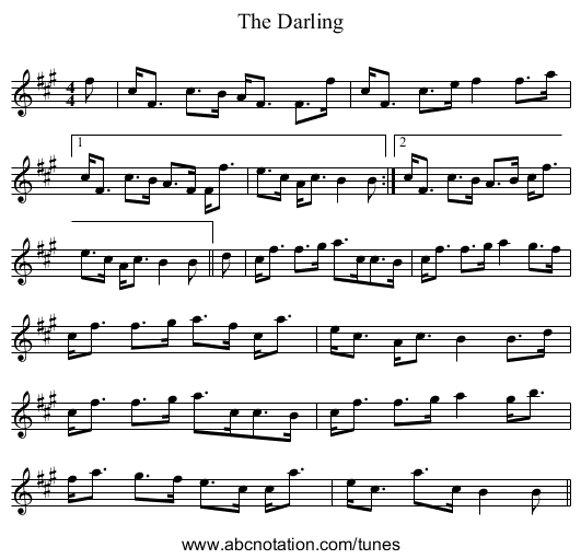 The Darling - staff notation