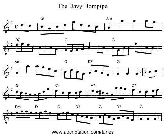 The Davy Hornpipe - staff notation