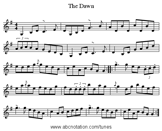 The Dawn - staff notation