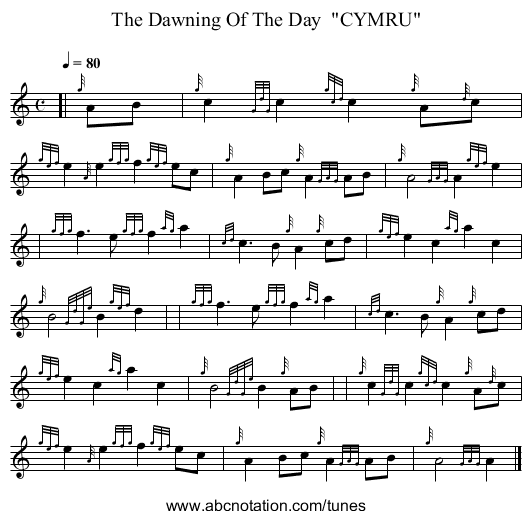 The Dawning Of The Day  CYMRU - staff notation