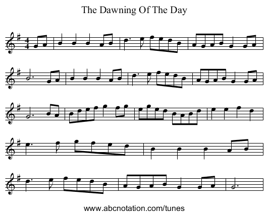 The Dawning Of The Day - staff notation
