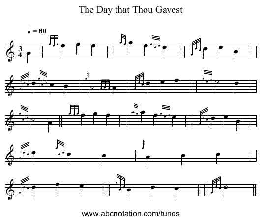 The Day that Thou Gavest - staff notation