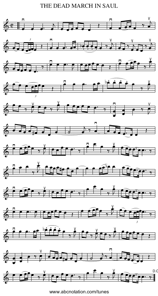 THE DEAD MARCH IN SAUL - staff notation