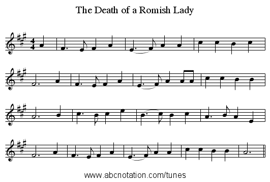 The Death of a Romish Lady - staff notation