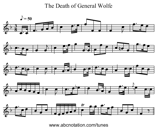 The Death of General Wolfe - staff notation