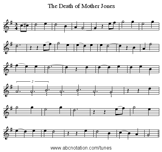 The Death of Mother Jones - staff notation