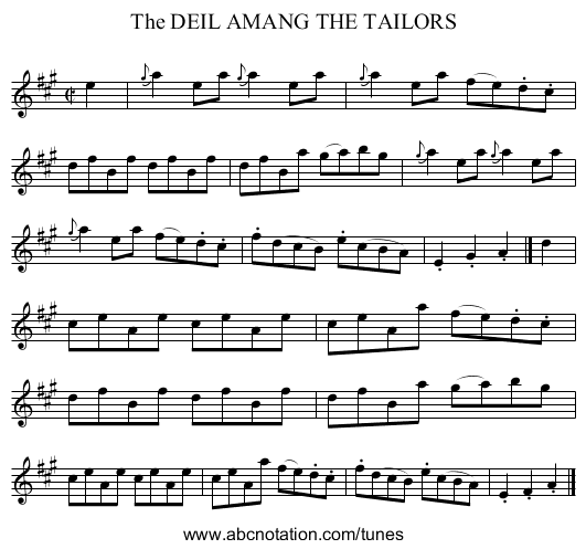 The DEIL AMANG THE TAILORS - staff notation