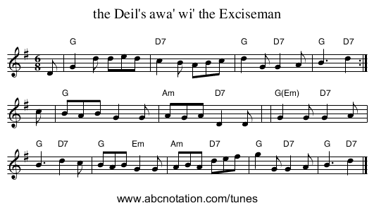 the Deil's awa' wi' the Exciseman - staff notation