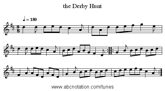 the Derby Hunt - staff notation