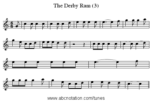 The Derby Ram (3) - staff notation