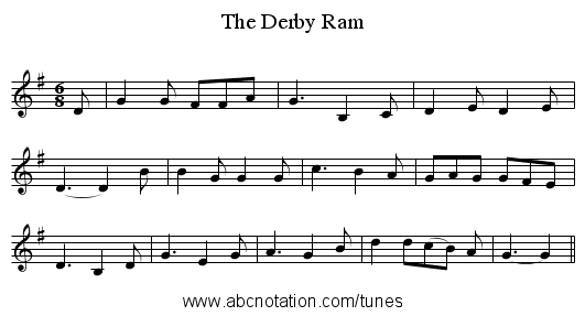 The Derby Ram - staff notation
