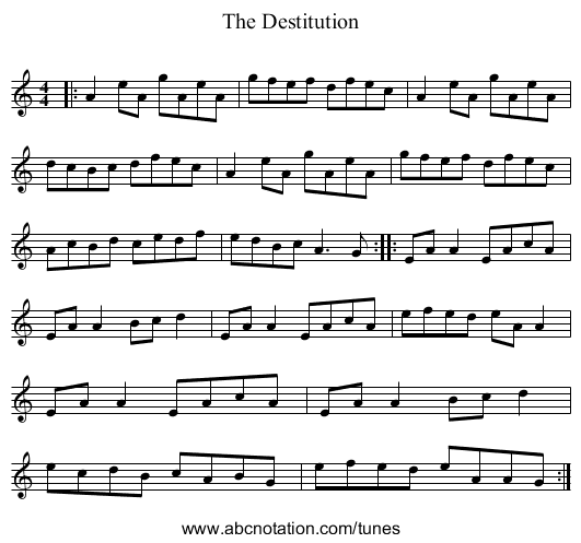 The Destitution - staff notation