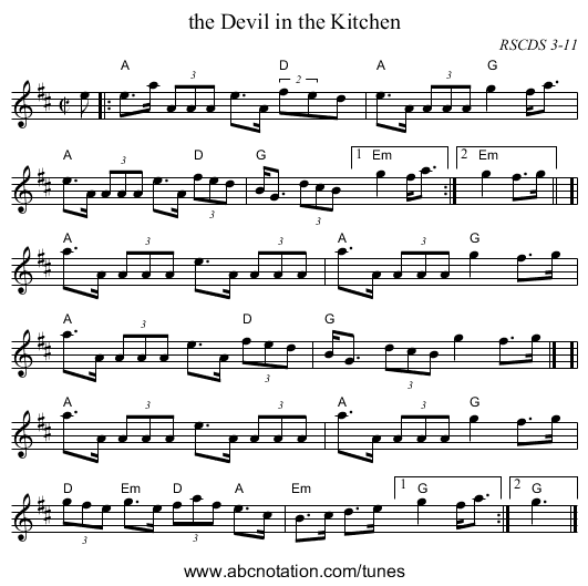 the Devil in the Kitchen - staff notation
