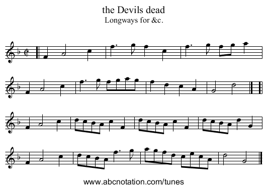 the Devils dead - staff notation