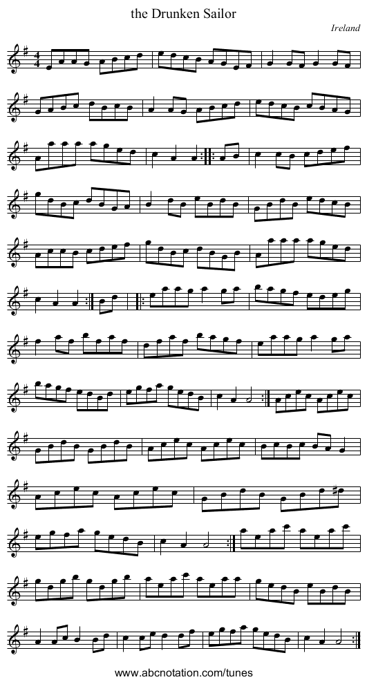 the Devils Dream - staff notation