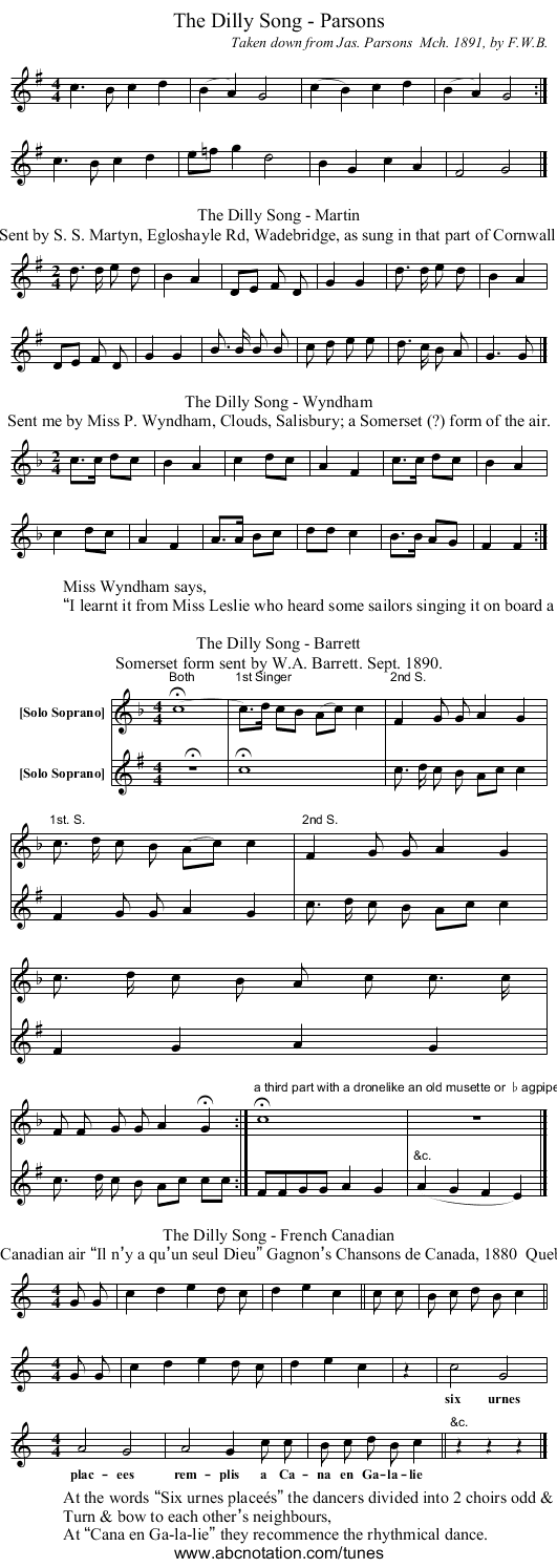 The Dilly Song - Parsons - staff notation