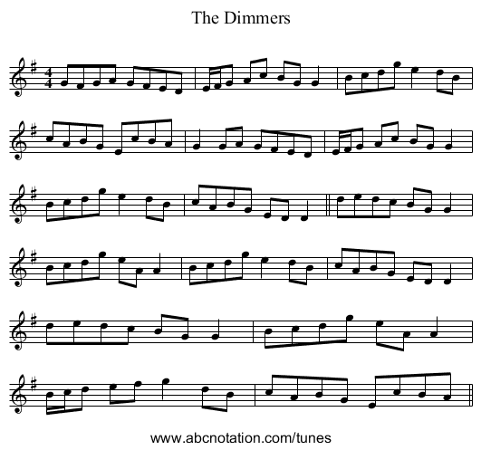 The Dimmers - staff notation