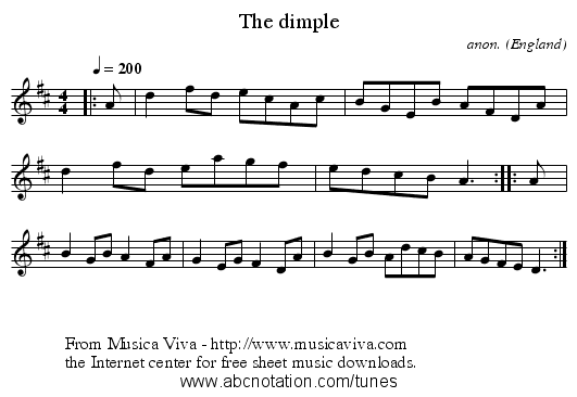 The dimple - staff notation