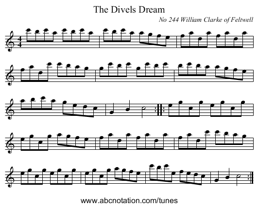 The Divels Dream - staff notation