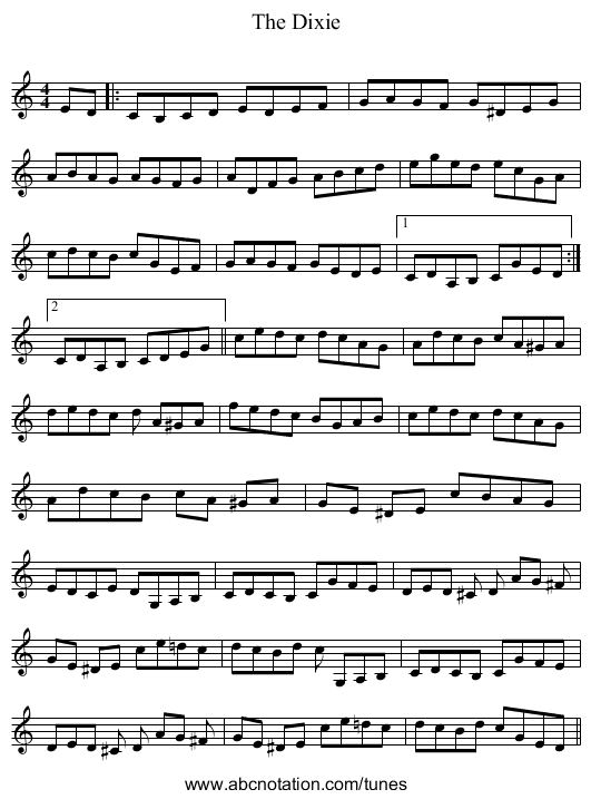 The Dixie - staff notation