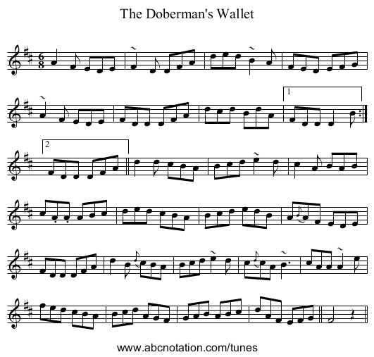 The Doberman's Wallet - staff notation