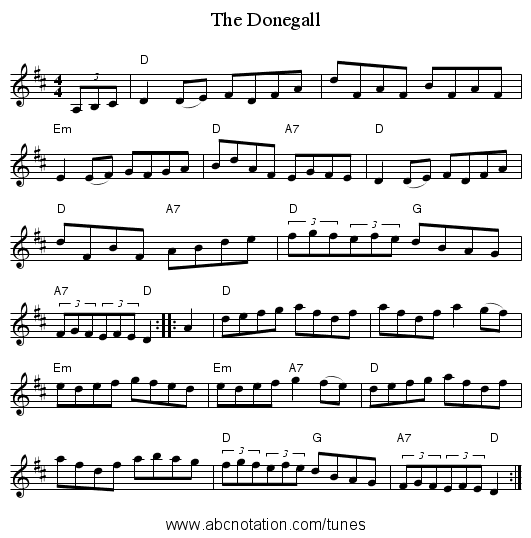 The Donegall - staff notation