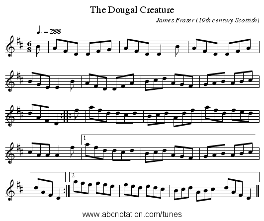 The Dougal Creature - staff notation