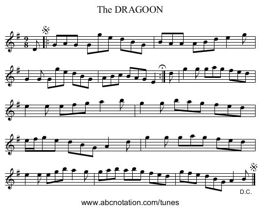 The DRAGOON - staff notation