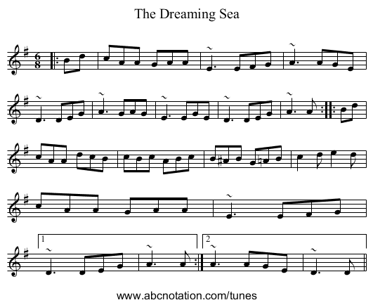 The Dreaming Sea - staff notation