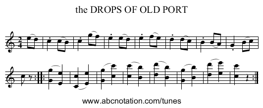 the DROPS OF OLD PORT - staff notation