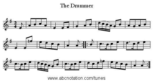 The Drummer - staff notation