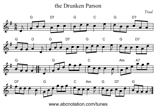 the Drunken Parson - staff notation