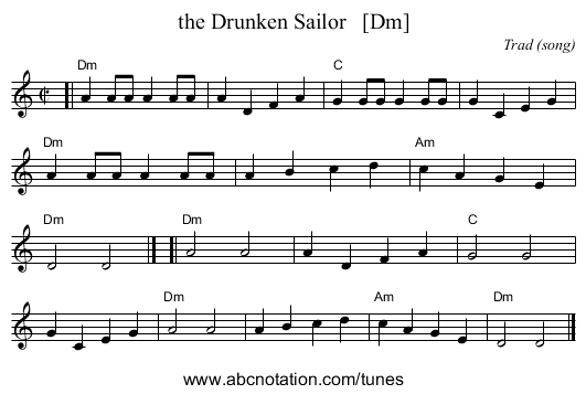 the Drunken Sailor - staff notation