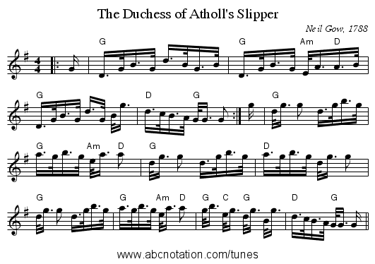 The Duchess of Atholl's Slipper - staff notation
