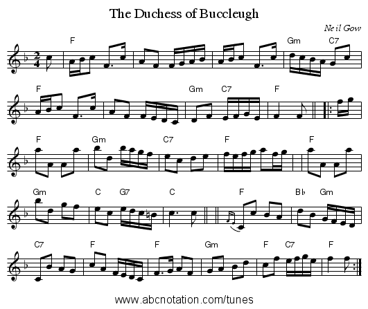 The Duchess of Buccleugh - staff notation